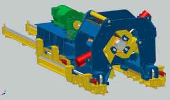 downcoiler 3D model for rolling mills